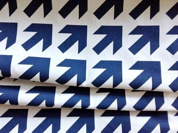 Just listed!! Navy Blue Arrows Laminated Canvas from Jessica at oilclothaddict, $24.00