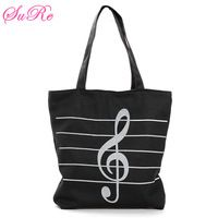 Women Canvas Musical Shopping Bags Tote Girls Portable Shoulder Bags Handbags