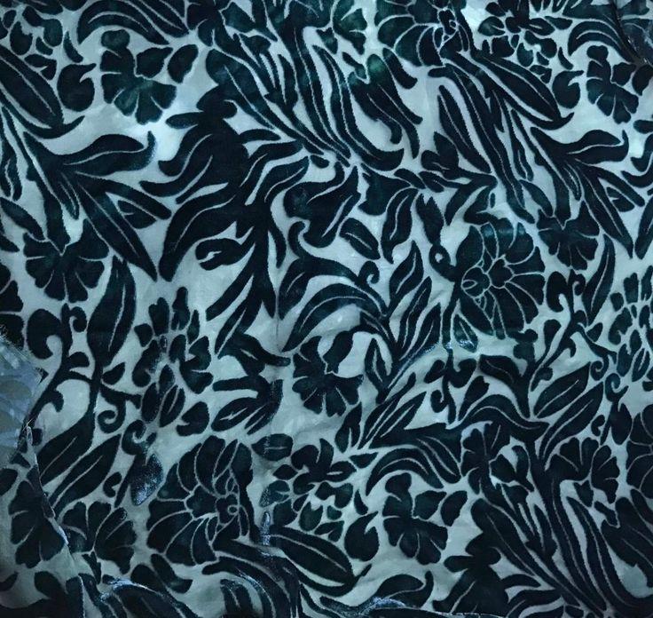 Burnout Silk VELVET Fabric TEAL GREEN