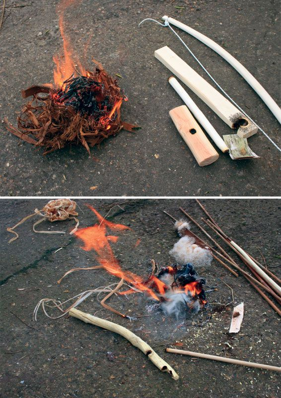 Making and using bow drill to make fire. Survival skills. Even though I stock up on matches & lighters