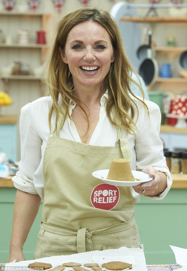 Geri Horner won the coveted Sport Relief apron on last night's Bake Off but viewers were more interested in her new accent, pictured making her Showstopper of ginger biscuits