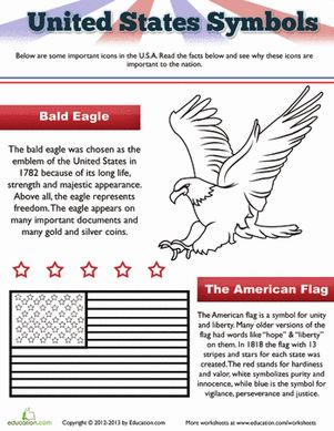 Take a closer look at the American flag and eagle, important symbols of our country, with this fun printable.