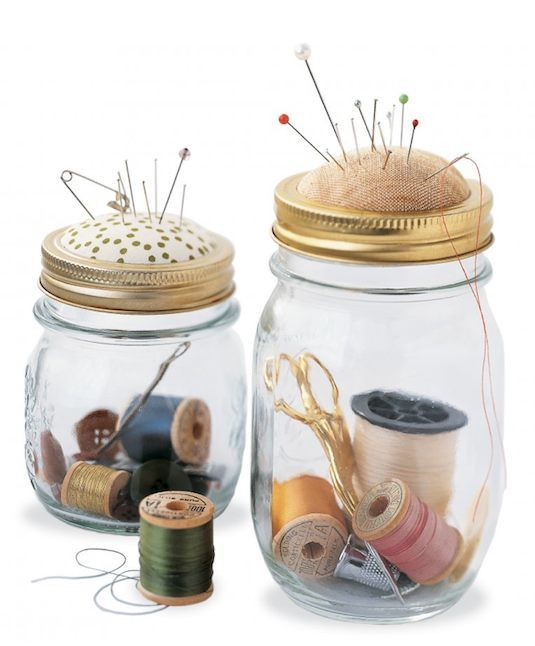 20 Of The Best Mason Jar Projects | Sewing kit in a jar! Use the lid as a pin cushion.
