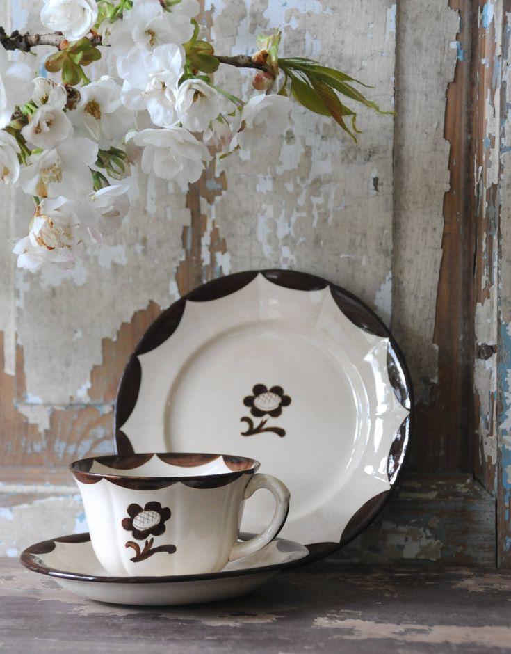 Antique Gustavsberg PYRO - Tea set by Wilhelm Kage/ Wilhem Kåge. Decor 'Brown Flower' - Vintage. Swedish Art Deco by FridasVintage on Etsy