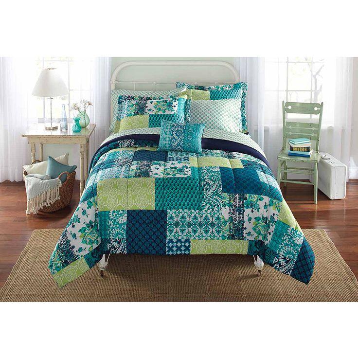 mainstays bedinabag bedding comforter set teal patch walmart