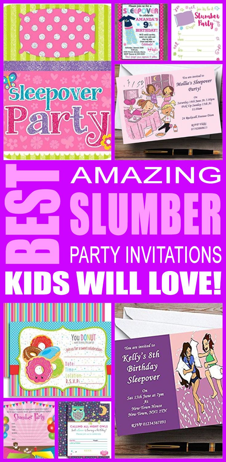 30 best kids party invitations images on pinterest for girls best slumber party invitations kids will love solutioingenieria Choice Image