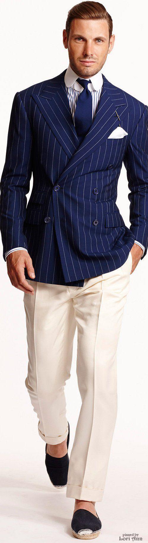 Ralph Lauren #BeigeandBlue Men's Pinstripe Suit Jacket Outfit Spring 2015 Menswear