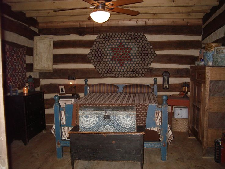 Country cabin bedroom decor