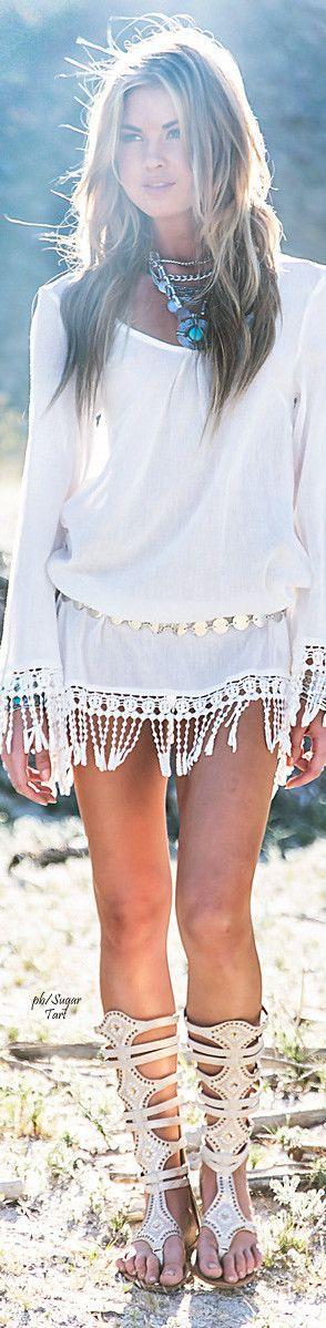 Boho chic. White peasant dress.