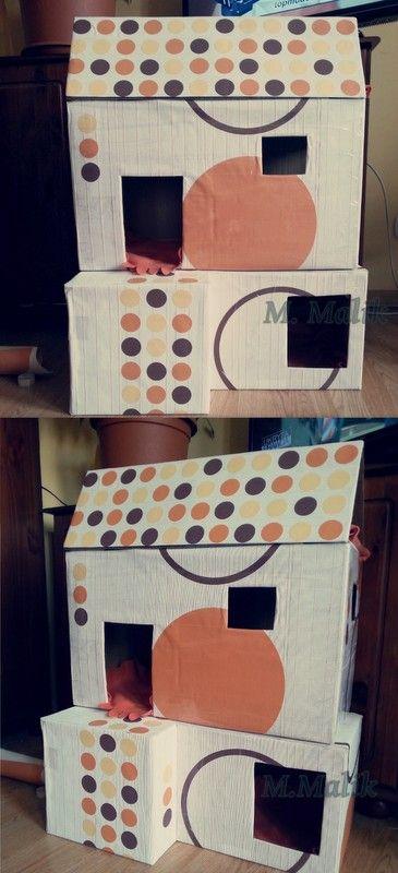 Domek dla kota, karton, tapeta