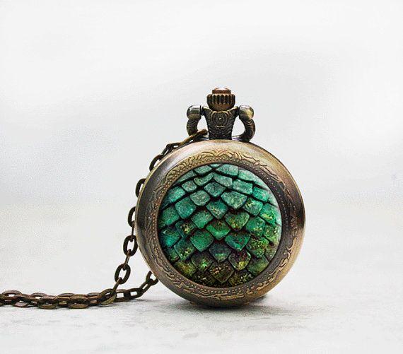 Gioco di troni tasca orologio collana foto ciondolo drago verde uovo