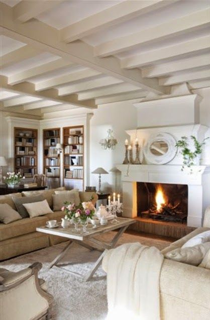 Beautiful bookcases in corner soft color, great ceiing