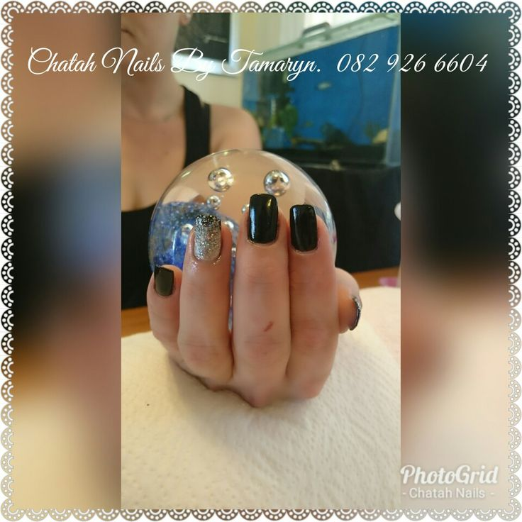 Gel black with glitter ombre