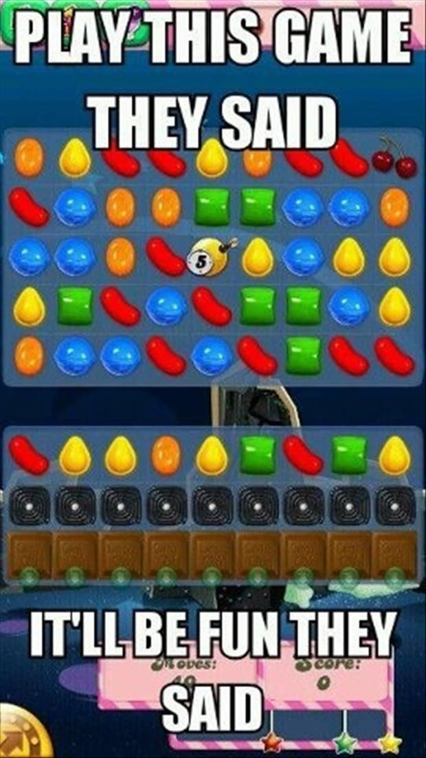 Candy Crush Saga....you know you've been playing it too long when all you see in this picture is the possibility of getting five in a row...