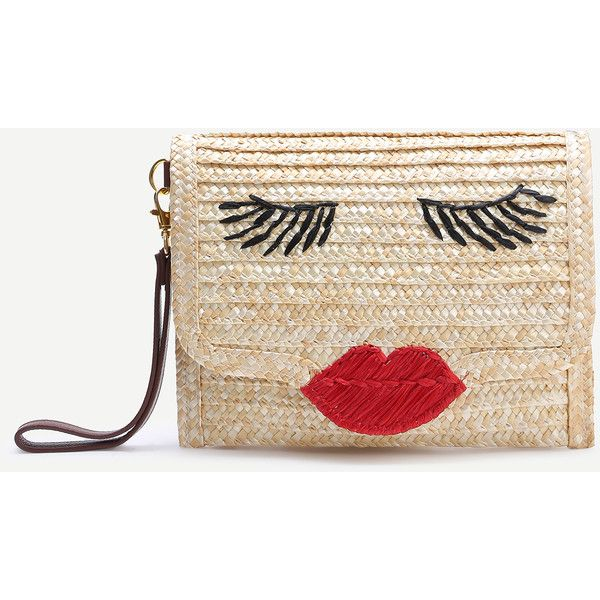 SheIn(sheinside) Beige Face Pattern Straw Clutch Bag (1840 RSD) ❤ liked on Polyvore featuring bags, handbags, clutches, beige, straw handbags, pattern purse, print purse, beige purse and straw purse