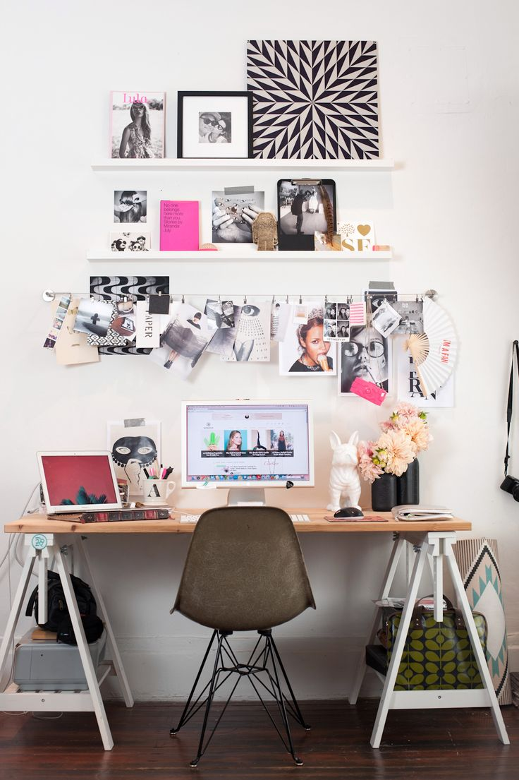 "How To DIY A Tiny Space — For Big Results #refinery29 http://www.refinery29.com/small-san-francisco-apartment#slide15 Get Personal In The Home Office ""I used MADESQUARE, a service that lets you print Instagram images, to make my workspace more personal. I love the service because it has so many different ways to apply the photos, like the metal print which is a zoomed in Insta from a mural at Barrow Salon. Also, the photo clings, which are shots from R29 shoots. The set up was easy, too, ..."