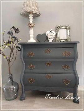Prachtig sfeervol landelijke & brocante buikkast ~ past perfect binnen een landelijk en brocant interieur! ~ Kleur: dark grey de buikkast is behandeld met een dekkende hoogwaardige krijtverf voor