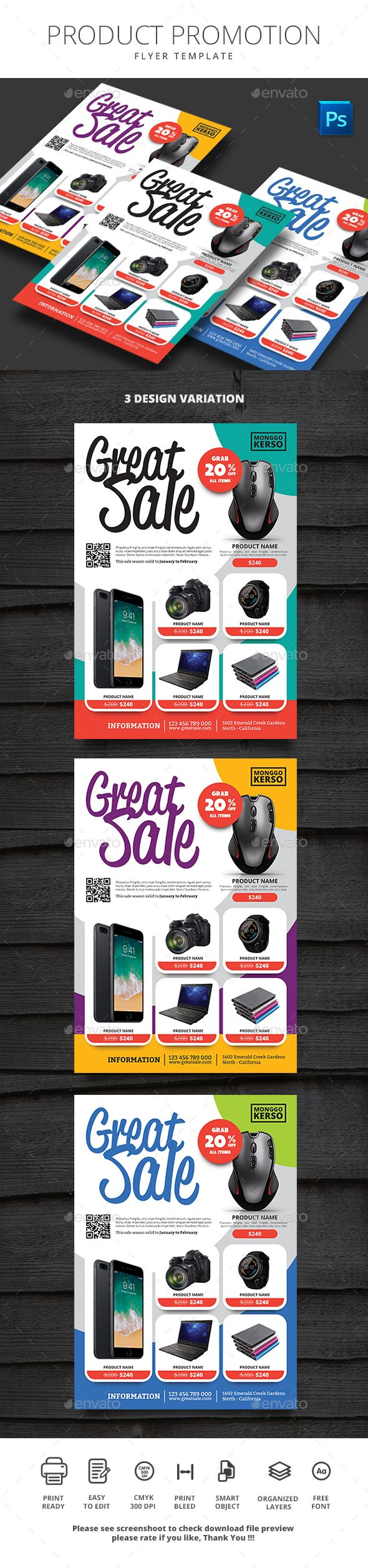 Product Promotion Flyer File Features : Size A4 210x290mm   Bleed area CMYK / 300 dpi Easy to edit text Well organized PSD file 3 Alternative colors Photos are not included Please see screenshoot to check download file preview Free Font open-sans, reklame-scri