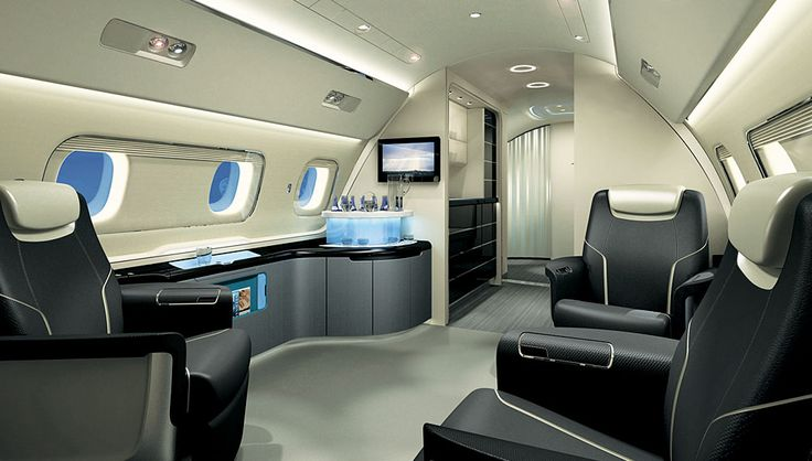 The interior of the new Embraer Lineage 1000 features five spacious and customizable rooms. #wealthy #lifestyle #robbreport