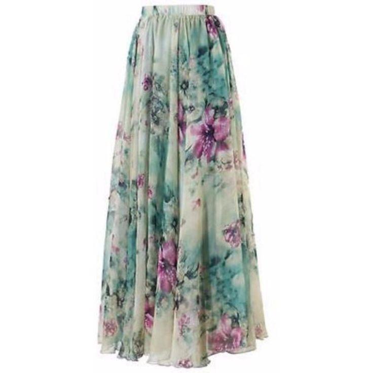 Chiffon Pleated Floral Print Women Long Skirts