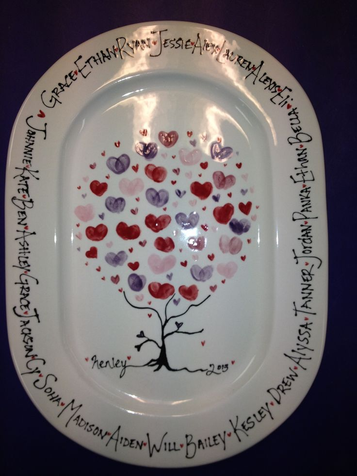 My finished school auction ceramics project! Fingerprint hearts turned out great.