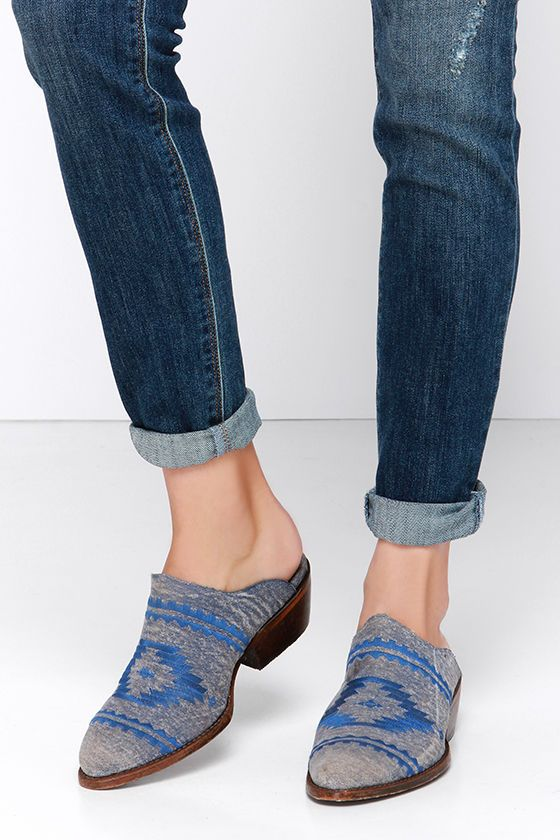 The Matisse Walter Denim Blue Southwest Mules are inspiring tales far and  wide of their gorgeous tumbled denim upper that resembles a Western ankle  boot, ...