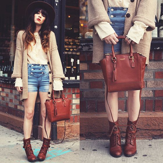2020 Ave Cardigan, Coach Satchel, Vintage Blouse, Denim Shorts, Wolverine Boots