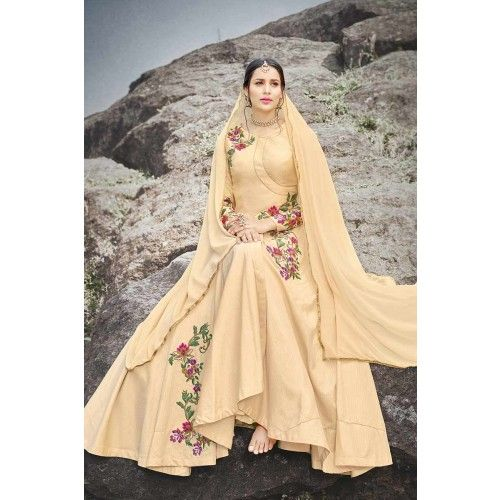 BEIGE ART SILK ANARKALI SUIT  Price - £107.00  OccasionParty Wear, Wedding Wear, Festival Wear, Ceremonial ColorBeige FabricGeorgette Discount21%-30% WorkEmbroidered, Stone Time To Ship:10 to 12 working days #online #shopping #design #designer #collection #pretty #trendy #ootd #outfit #ethnic #anarkali #fashion #bollywood #stylish #style #fabric #fabulous #fab #shopkund