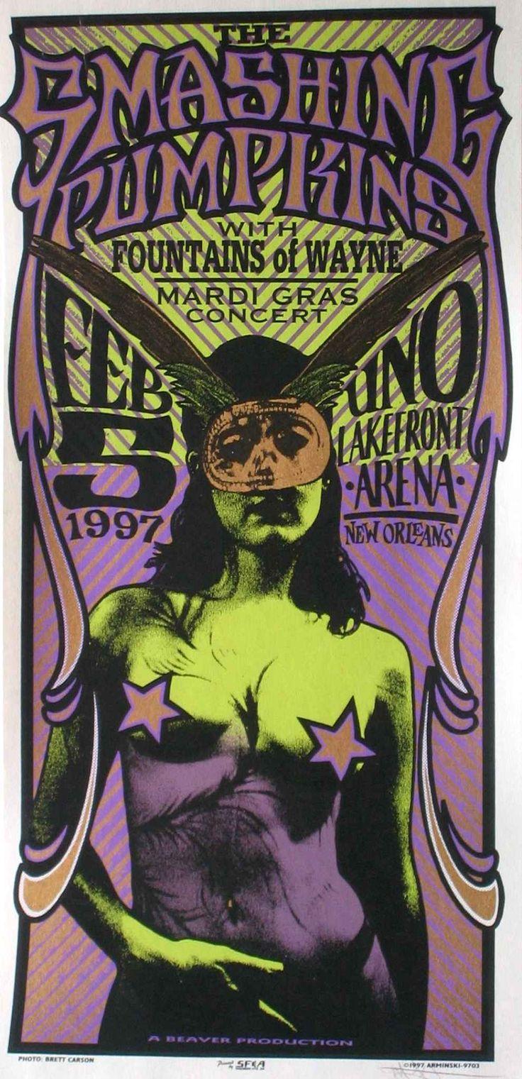 Affiche des Smashing Pumpkins pour leur concert à la Nouvelle Orléans, le 5 février 1997.