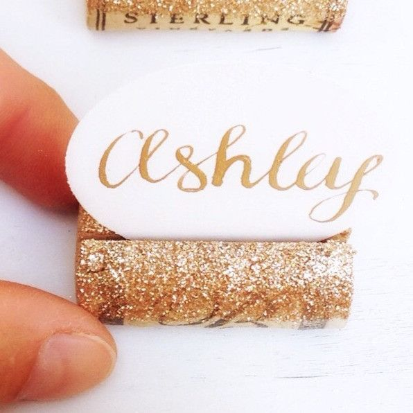 sparkly holiday place card holder