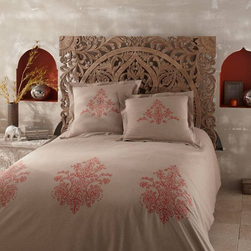 Parure housse de couette en coton beige  SARAYA, tête de lit sculptée HIMALAYA | Maisons du Monde