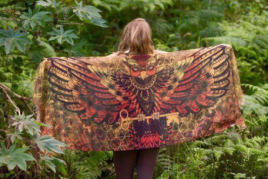 Sarong Scarf Owl Wings Lava Sacred Geometry, Totem Feather Pashmina Festival beach Gypsy Bohemian Tribal Clothing Nature Ajjaya Rave