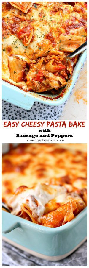 Easy Cheesy Pasta Bake with Sausage and Peppers from cravingsofalunatic.com- This Pasta Bake is the perfect simple recipe for busy nights. Easy to make, impossible to resist! (@CravingsLunatic) #sponsored #JDFAMILYTABLE