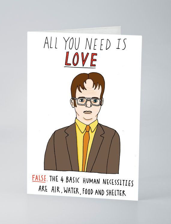 Dwight Schrute valentines card by CharlyClements on Etsy, £2.99