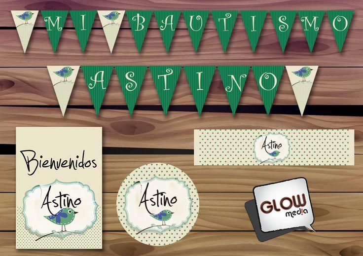 Diseño Pajarito Verde para el BAUTISMO de Astino