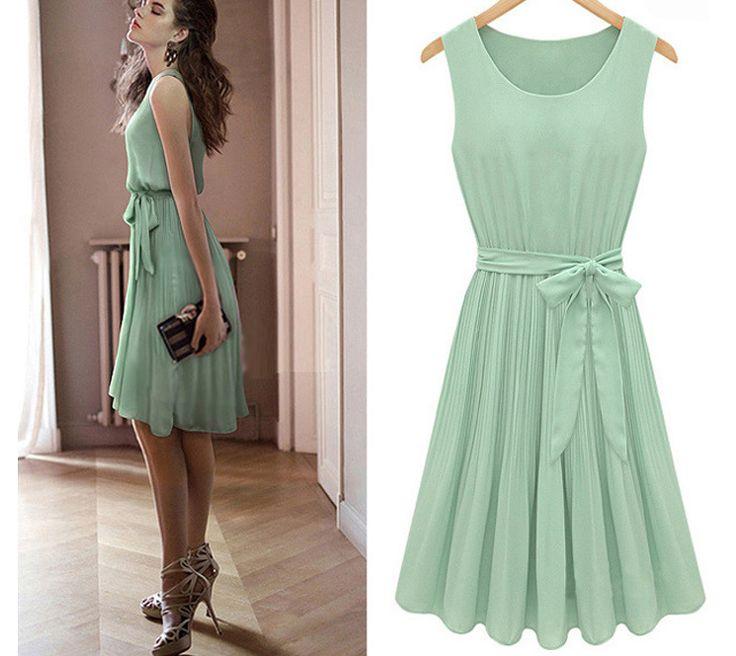 ワンピース・ドレス - 欧米ファッション夏新作ウェスト紐付きスリムシルエットの無地プリーツノースリーブワンピース