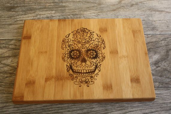 Sugar Skull Cutting Board  Day of the Dead by OurCuttingBoard