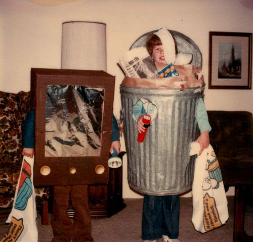TV set and garbage can costumes, 1970s.