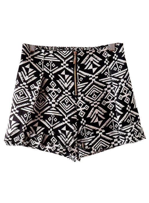 Shorts estampado geométrico tiro alto-Negro EUR16.75