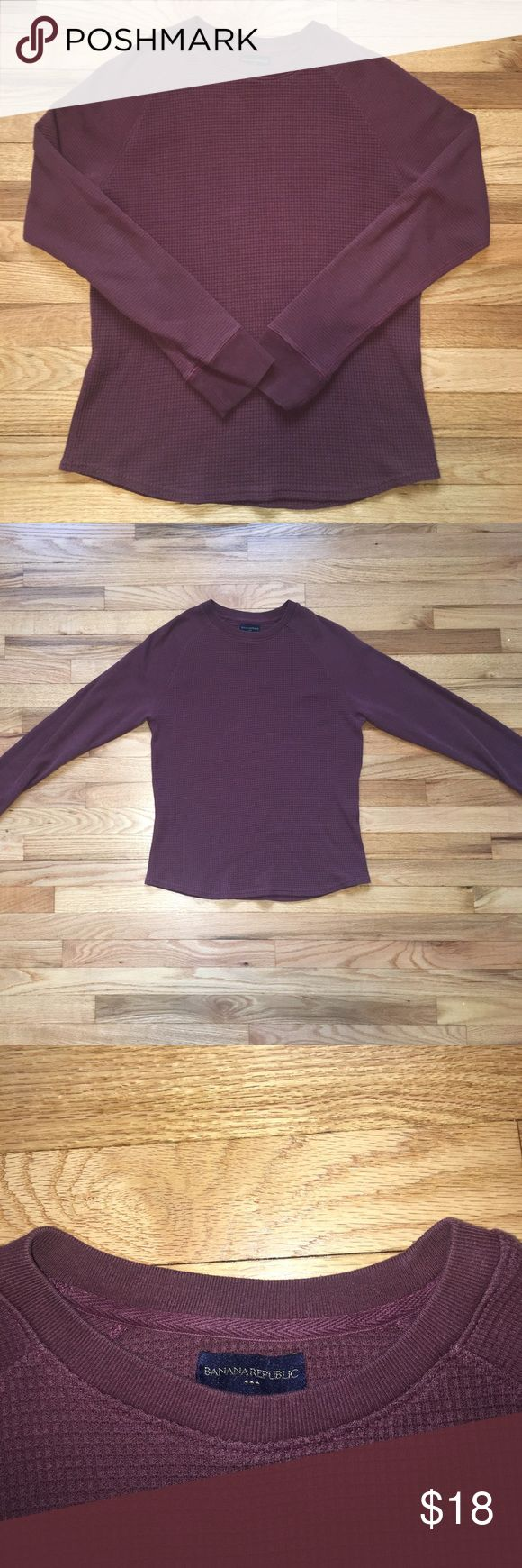 Men's Burgundy Banana Republic Waffle Shirt Excellent Quality Men's Burgundy Banana Republic Crewneck Waffle Shirt Banana Republic Shirts Tees - Long Sleeve