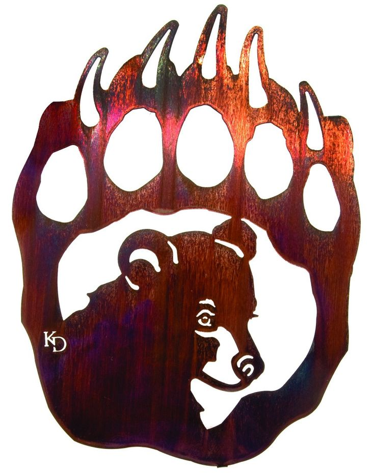 Bear Cub inside Paw Print Laser Cut Metal Wall Art