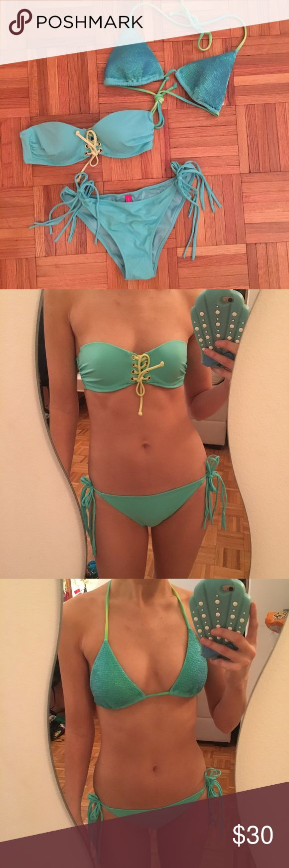 3 piece bikini set- Victoria's Secret- small 3 piece mix and match bikini set- Victoria's Secret- all pieces size small. Embellished triangle top with sequins, side tie string bottoms, and bandeau with lace up detail at center front. New without tags! Victoria's Secret Swim Bikinis