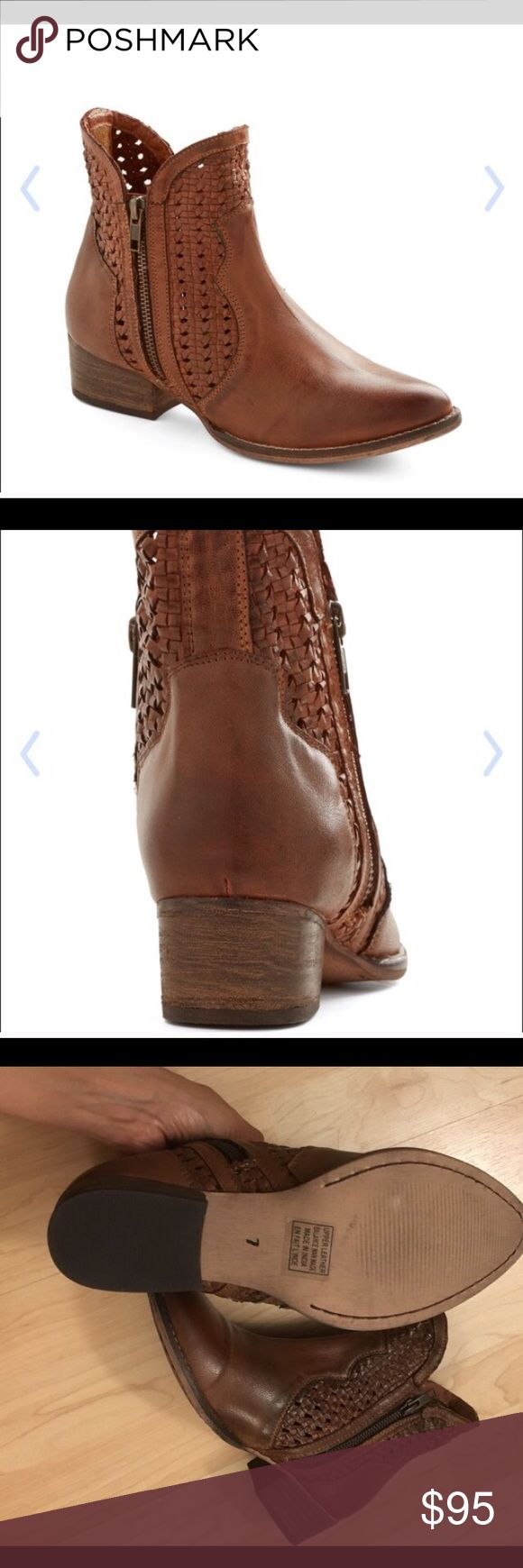 """Seychelles Flip A Coin Leather Bootie Details Sizing: True to size.  - Almond toe - Contrast woven construction - Side zip closures - Approx. 7"""" shaft height, 10"""" opening circumference - Approx. 1.5"""" heel, 0.25"""" platform - Box not included Seychelles Shoes Ankle Boots & Booties"""