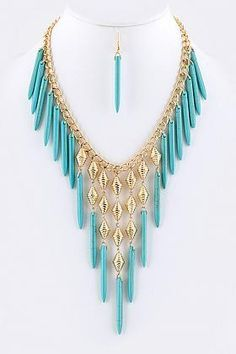 HERA STATEMENT NECKLACE EARRINGS SET (TURQUOISE)