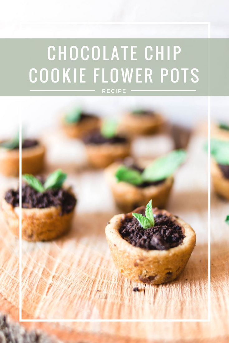 easy chocolate chip cookie flower pots cupcakes with peanut butter cups #ad #springjustgotsweeter