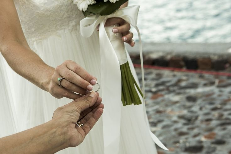 """I promise to bring out the best in you, as you bring out the best in me...""  #wedding #vows #ring #ceremony #santorini #love   Photo by Nick Gogas"