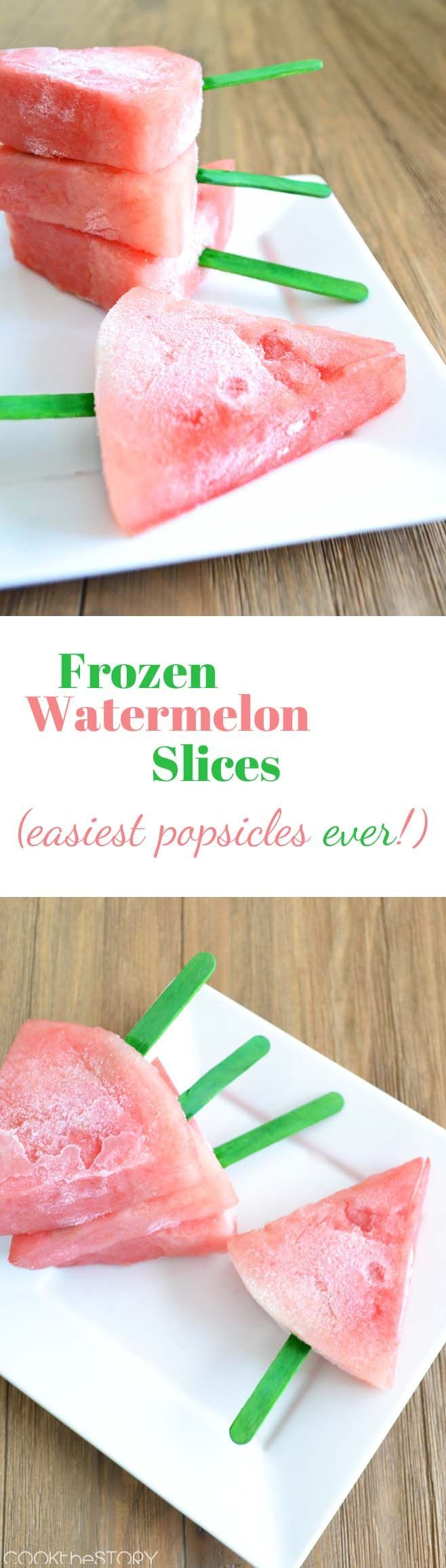 Frozen watermelon slices make for the easiest, and tastiest, summer popsicles for kids and adults! Cut, add a stick, and freeze! Yum! Refreshing!