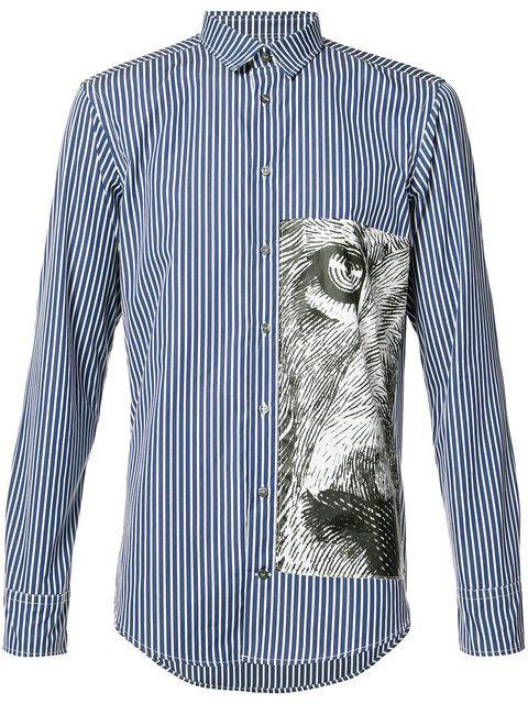 Купить MSGM полосатая рубашка с тигром.