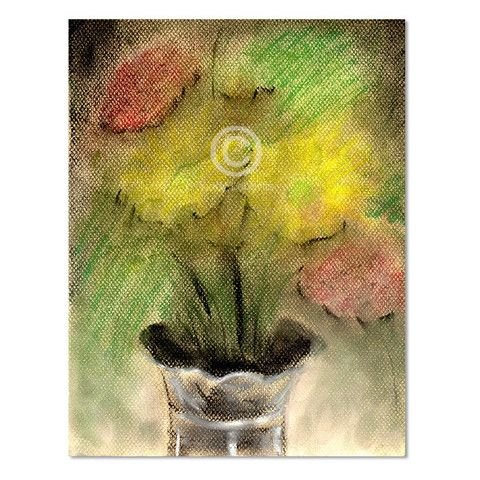 Flowers in Silver Vase, Print by Yiddy Lebovits – Matana Boutique