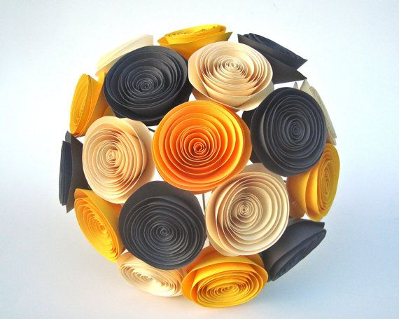 Handmade Paper Flower in charcoal grey, mustard yellow, and ivory, $30.00Creative Paper, Colors Stories, Paper Flower Bouquets, Charcoal Grey, Paper Flowers, Bouquets Ideas, Bridesmaid Bouquets, Handmade Paper, Bouquets Bridesmaid